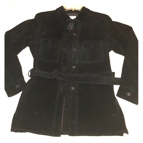Lord & Taylor Jackets & Blazers - SZ S Black suede belted jacket